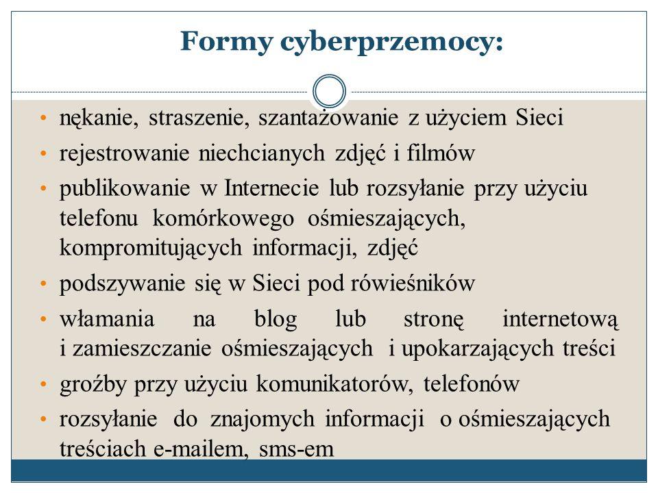 Formy cyberprzemocy: nękanie, straszenie, szantażowanie z użyciem Sieci. rejestrowanie niechcianych zdjęć i filmów.