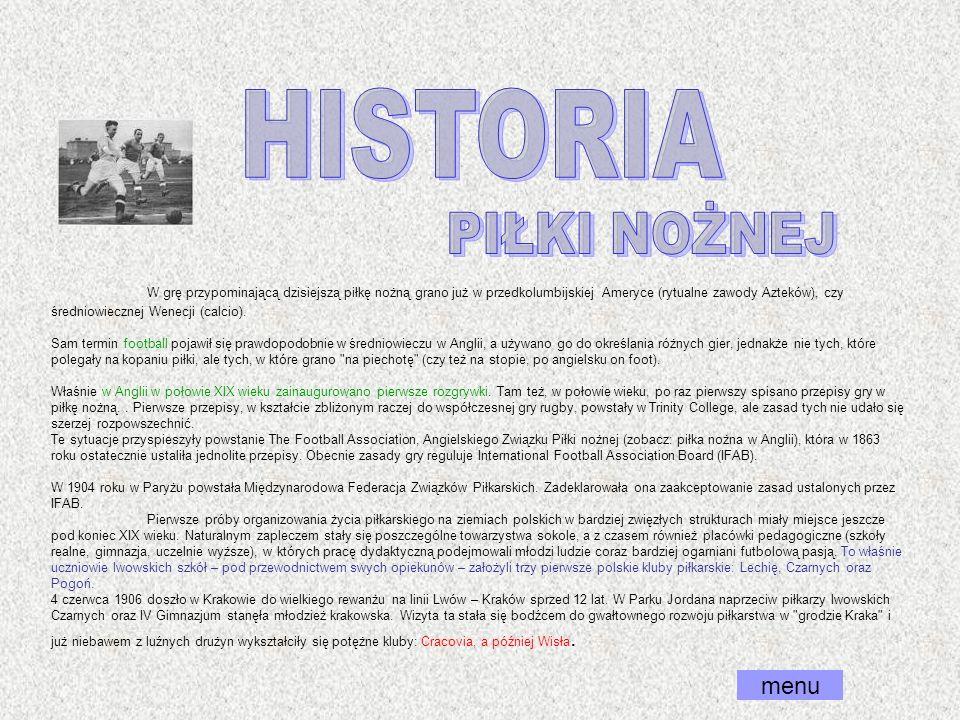 HISTORIA PIŁKI NOŻNEJ menu