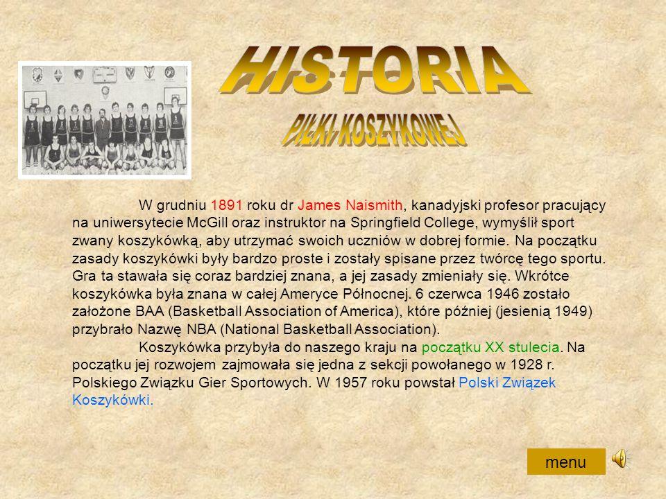 HISTORIA PIŁKI KOSZYKOWEJ menu