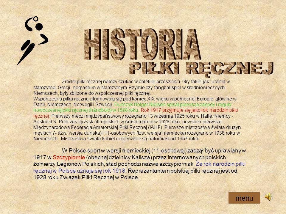HISTORIA PIŁKI RĘCZNEJ menu