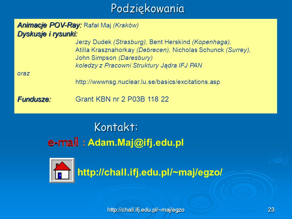 Podziękowania Kontakt: : Adam.Maj@ifj.edu.pl