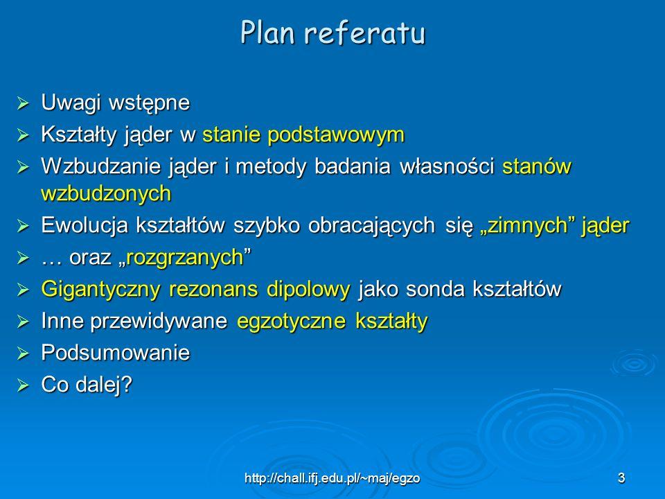 Plan referatu Uwagi wstępne Kształty jąder w stanie podstawowym