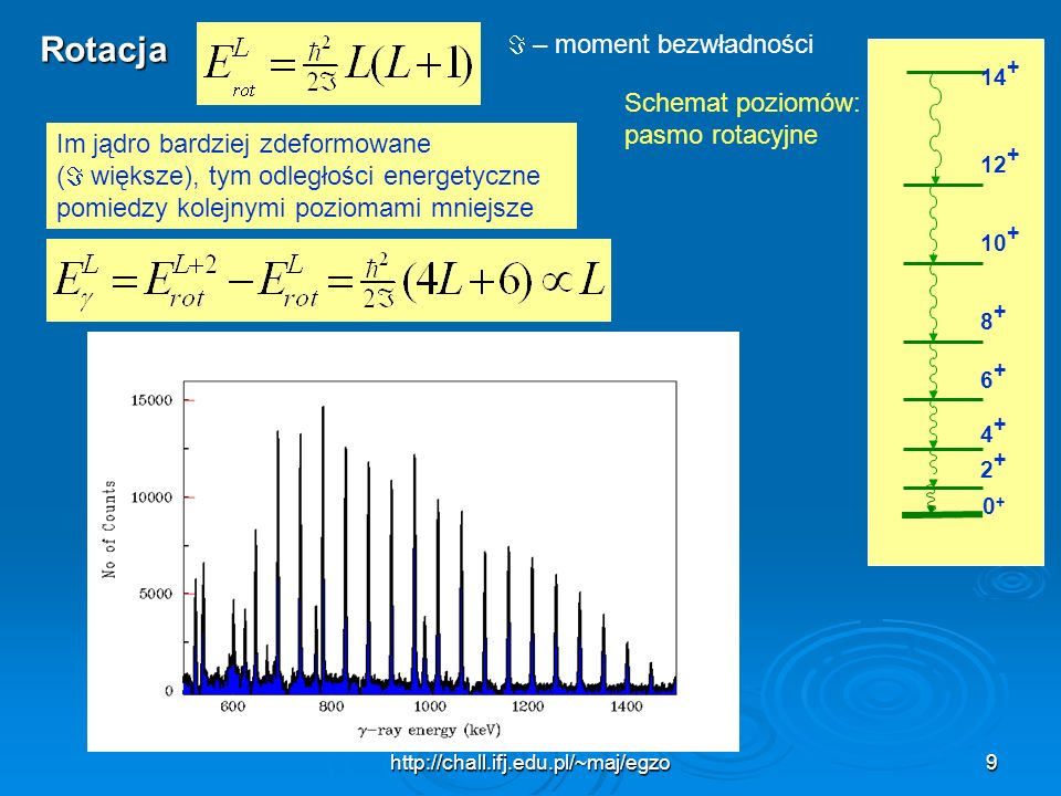 Rotacja  – moment bezwładności Schemat poziomów: pasmo rotacyjne
