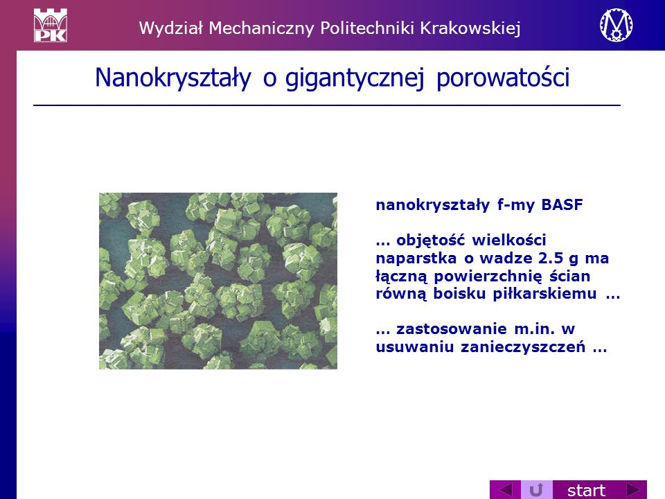 Nanokryształy o gigantycznej porowatości
