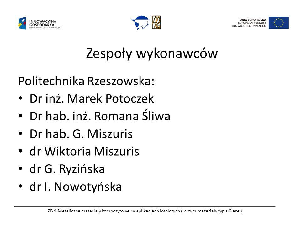 Zespoły wykonawców Politechnika Rzeszowska: Dr inż. Marek Potoczek