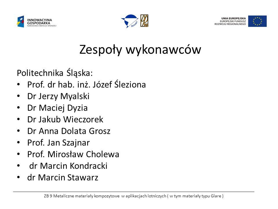 Zespoły wykonawców Politechnika Śląska: