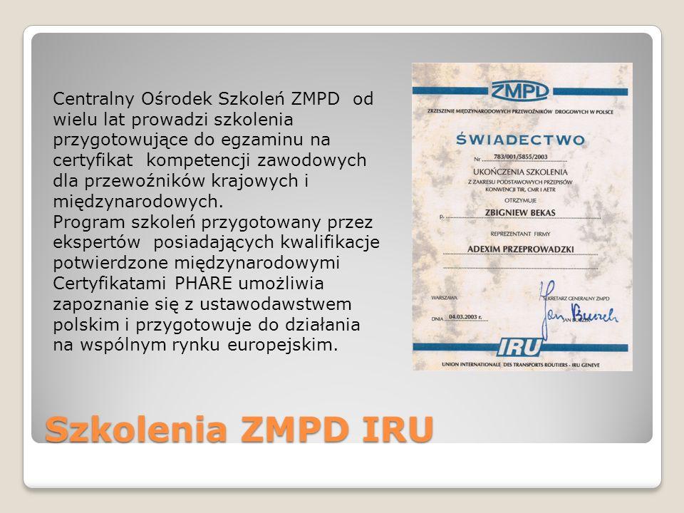 Centralny Ośrodek Szkoleń ZMPD od wielu lat prowadzi szkolenia przygotowujące do egzaminu na certyfikat kompetencji zawodowych dla przewoźników krajowych i międzynarodowych.