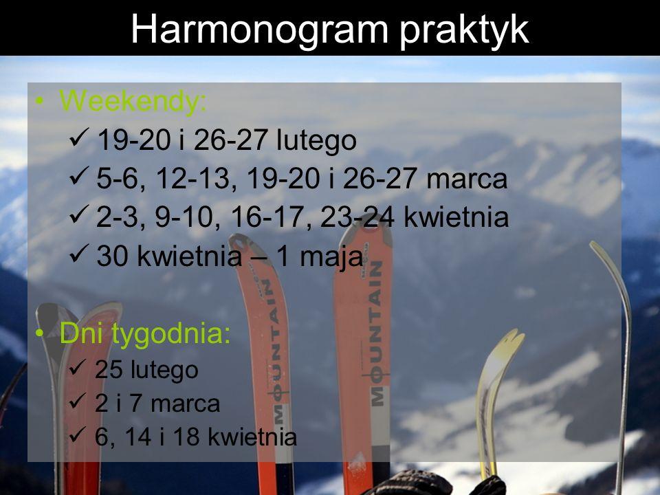 Harmonogram praktyk Weekendy: 19-20 i 26-27 lutego