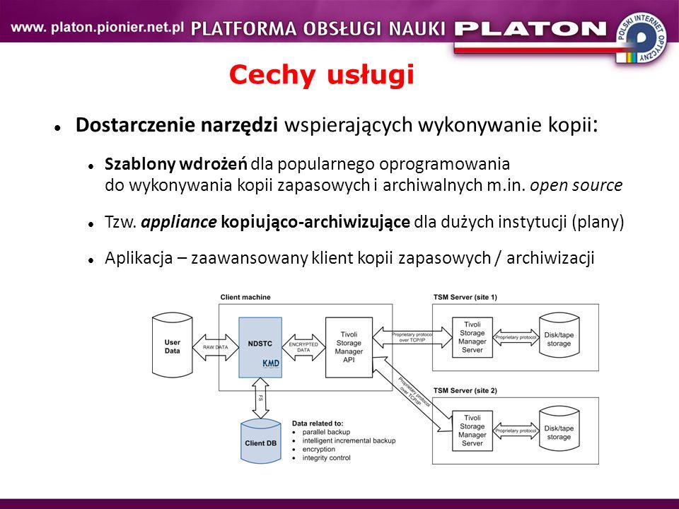 Cechy usługi Dostarczenie narzędzi wspierających wykonywanie kopii: