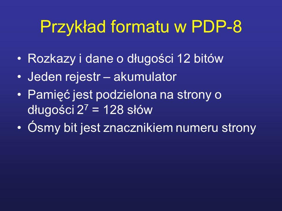 Przykład formatu w PDP-8