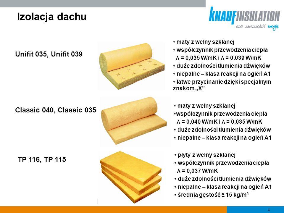 Izolacja dachu Unifit 035, Unifit 039 Classic 040, Classic 035