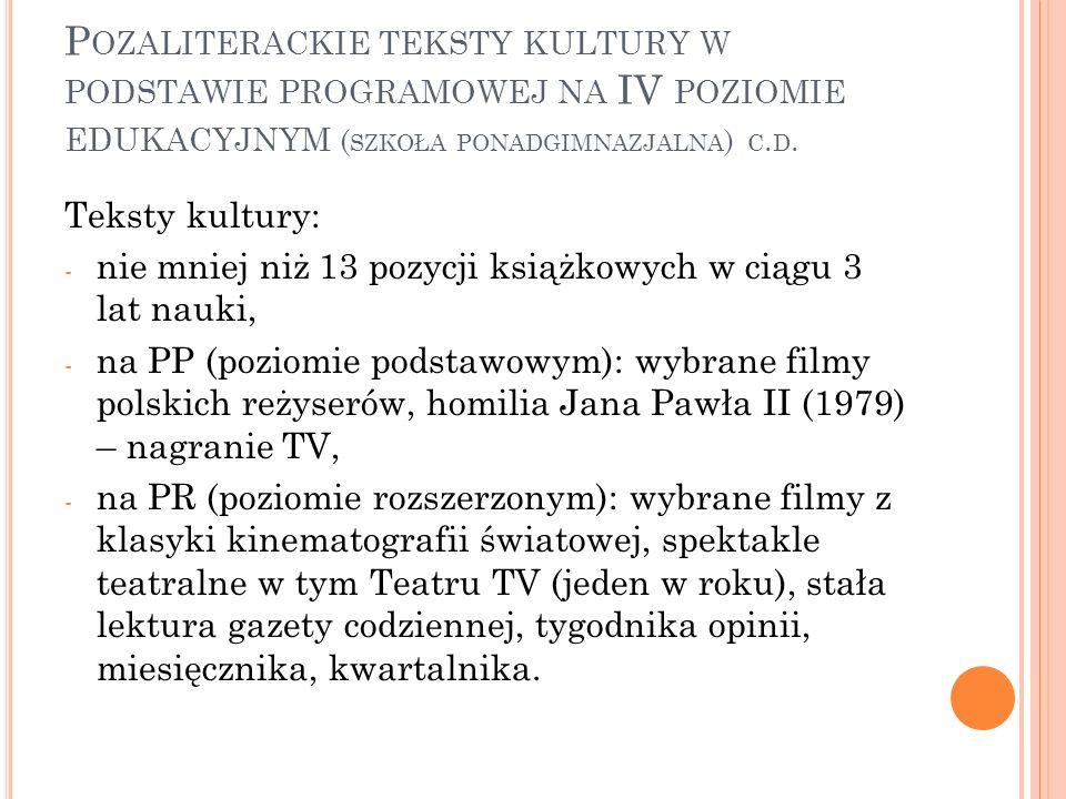Pozaliterackie teksty kultury w podstawie programowej na IV poziomie edukacyjnym (szkoła ponadgimnazjalna) c.d.