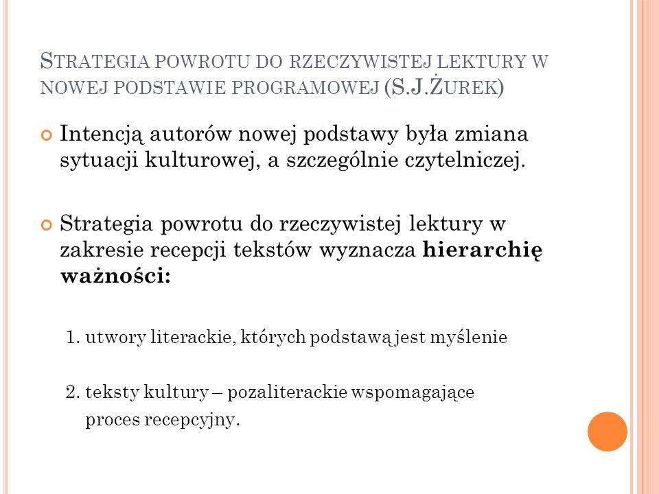 Strategia powrotu do rzeczywistej lektury w nowej podstawie programowej (S.J.Żurek)
