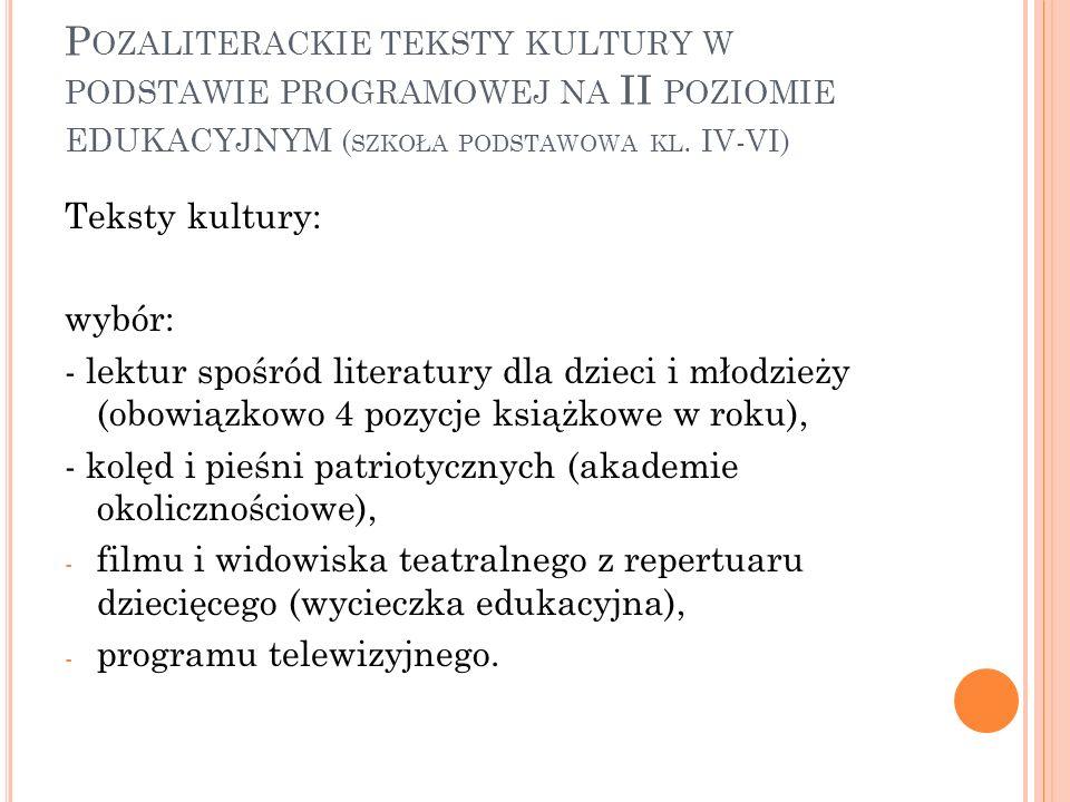 Pozaliterackie teksty kultury w podstawie programowej na II poziomie edukacyjnym (szkoła podstawowa kl. IV-VI)