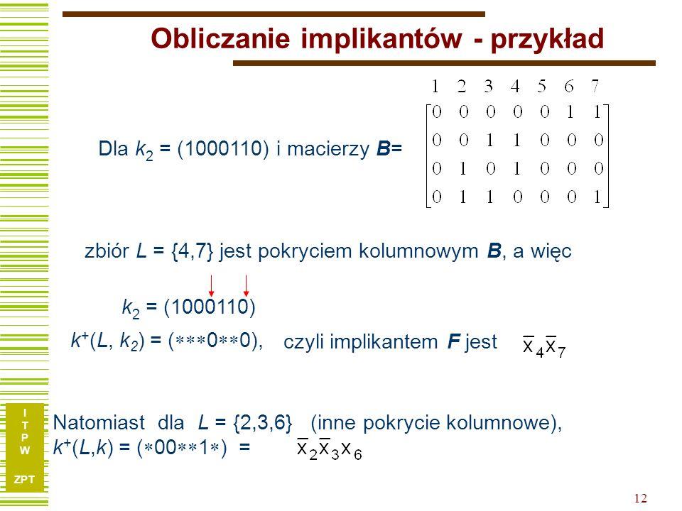 Obliczanie implikantów - przykład