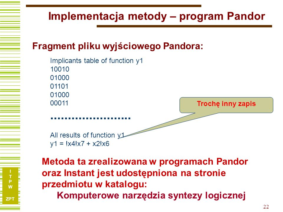 Implementacja metody – program Pandor