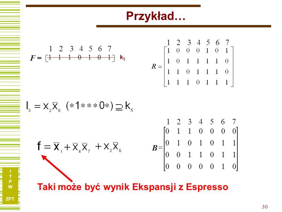 Przykład… Taki może być wynik Ekspansji z Espresso 1 2 3 4 5 6 7 F = 7