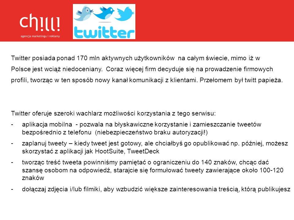 Twitter posiada ponad 170 mln aktywnych użytkowników na całym świecie, mimo iż w