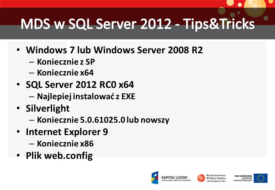 MDS w SQL Server 2012 - Tips&Tricks