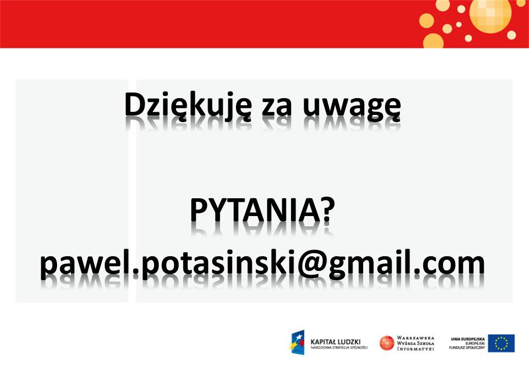 Dziękuję za uwagę PYTANIA pawel.potasinski@gmail.com