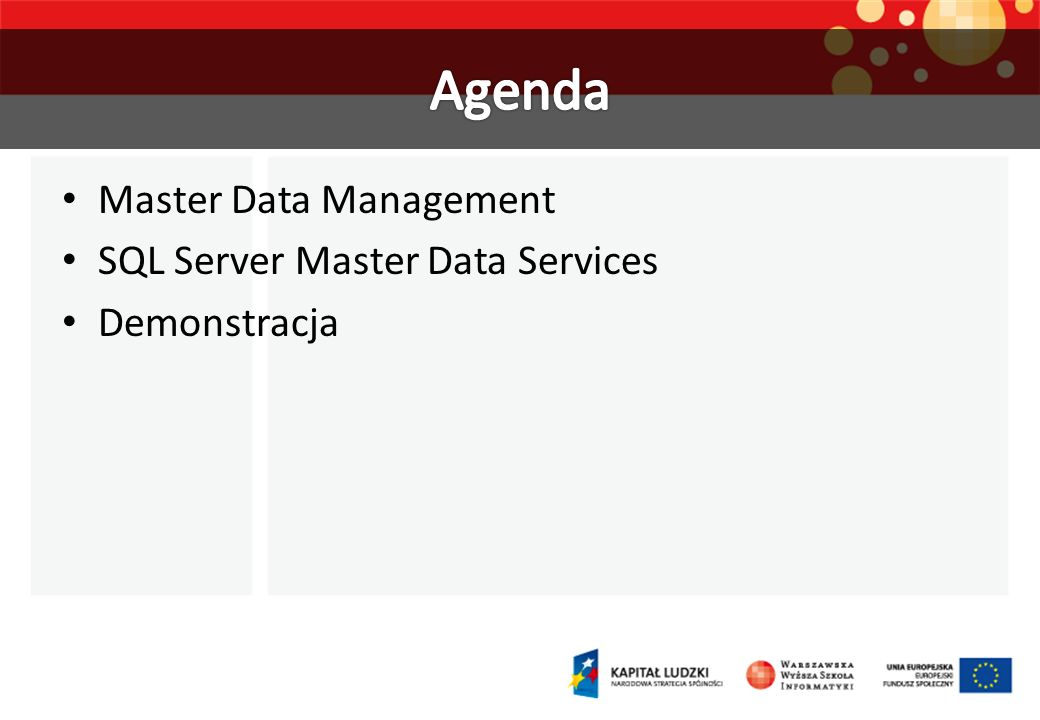 Agenda Master Data Management SQL Server Master Data Services