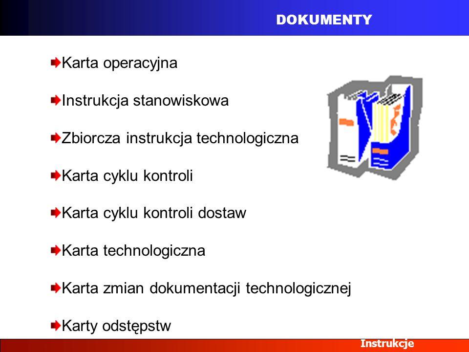 Instrukcja stanowiskowa Zbiorcza instrukcja technologiczna