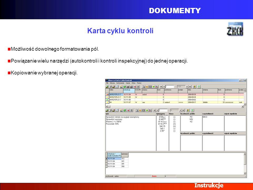DOKUMENTY Karta cyklu kontroli Instrukcje