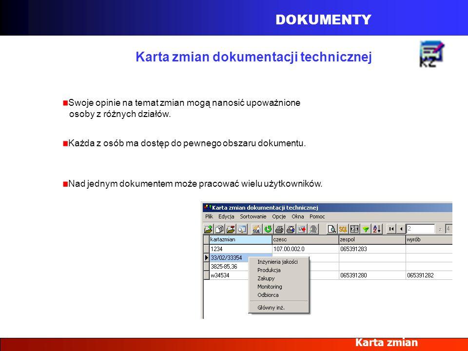 Karta zmian dokumentacji technicznej