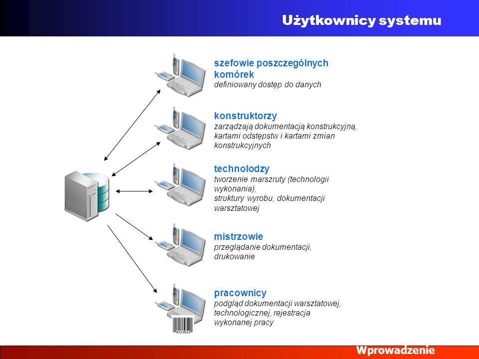 Użytkownicy systemu Wprowadzenie szefowie poszczególnych komórek