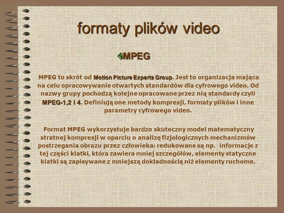 formaty plików video MPEG