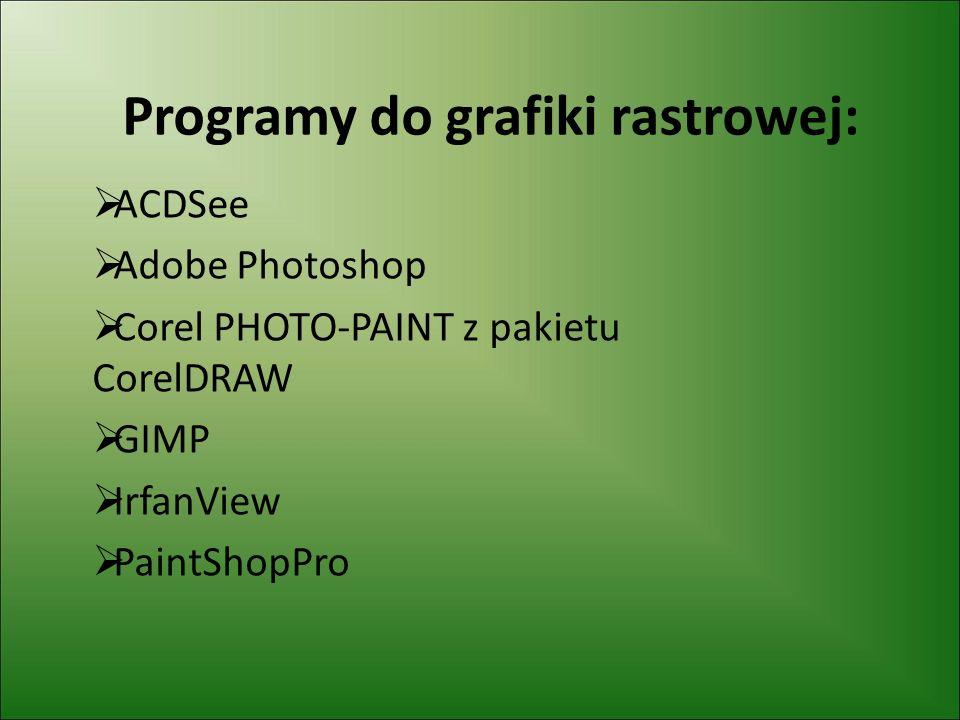Programy do grafiki rastrowej:
