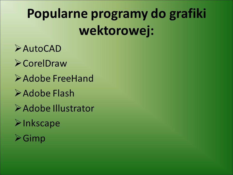 Popularne programy do grafiki wektorowej: