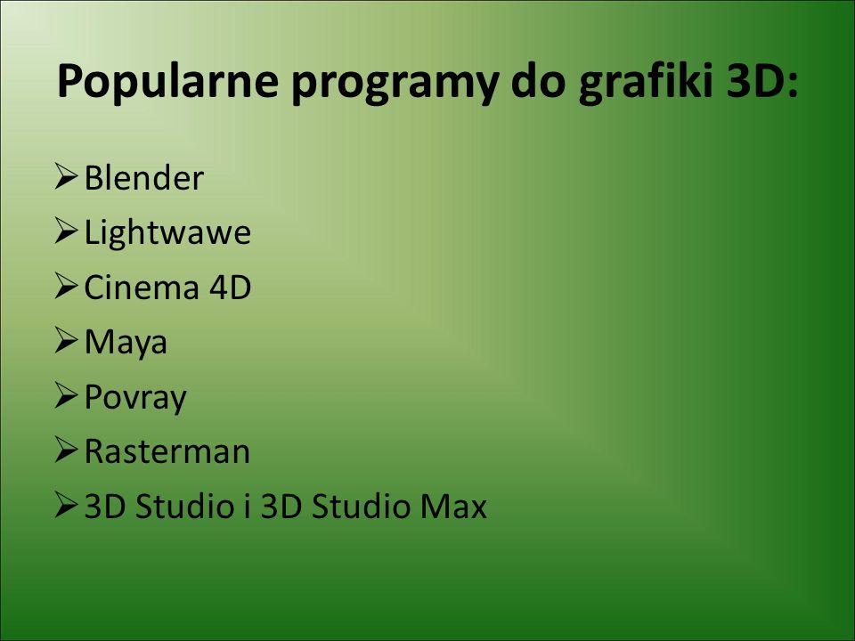 Popularne programy do grafiki 3D: