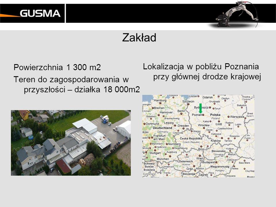 Zakład Powierzchnia 1 300 m2 Teren do zagospodarowania w przyszłości – działka 18 000m2 Lokalizacja w pobliżu Poznania przy głównej drodze krajowej.