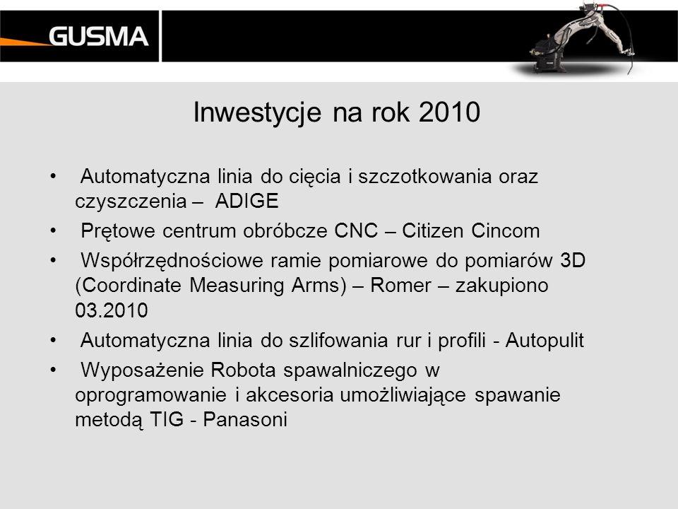 Inwestycje na rok 2010 Automatyczna linia do cięcia i szczotkowania oraz czyszczenia – ADIGE. Prętowe centrum obróbcze CNC – Citizen Cincom.