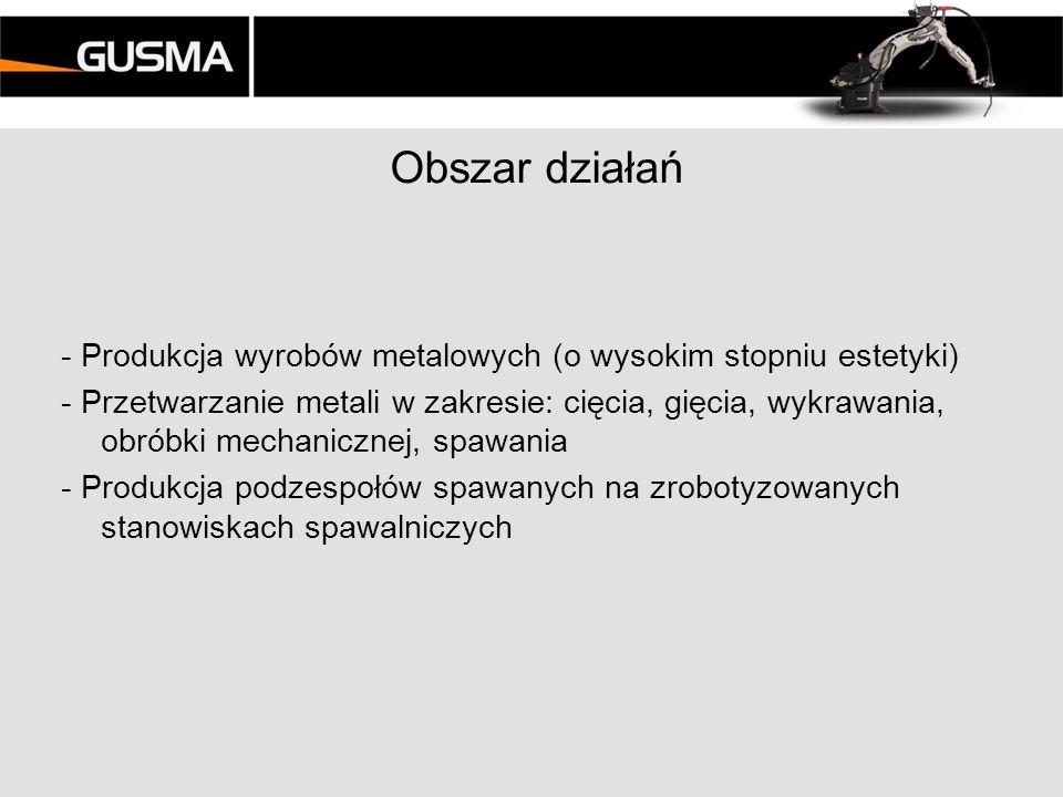 Obszar działań - Produkcja wyrobów metalowych (o wysokim stopniu estetyki)