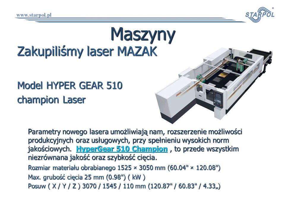 Maszyny Zakupiliśmy laser MAZAK Model HYPER GEAR 510 champion Laser