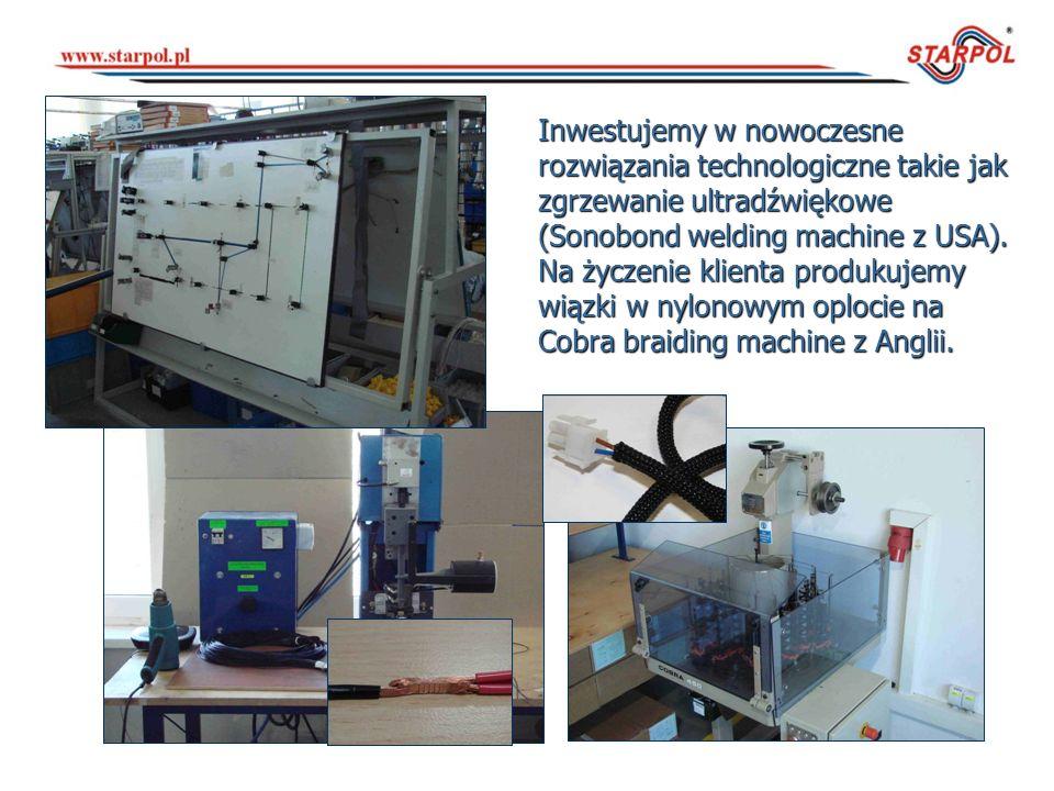 Inwestujemy w nowoczesne rozwiązania technologiczne takie jak zgrzewanie ultradźwiękowe (Sonobond welding machine z USA).
