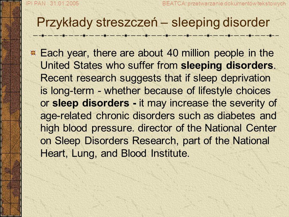 Przykłady streszczeń – sleeping disorder