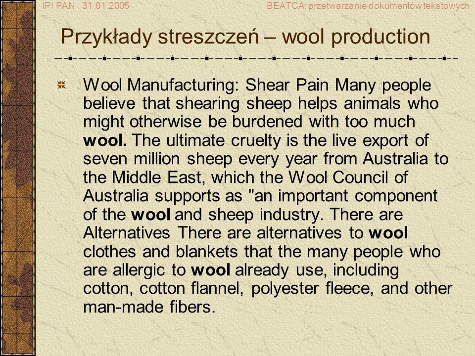 Przykłady streszczeń – wool production