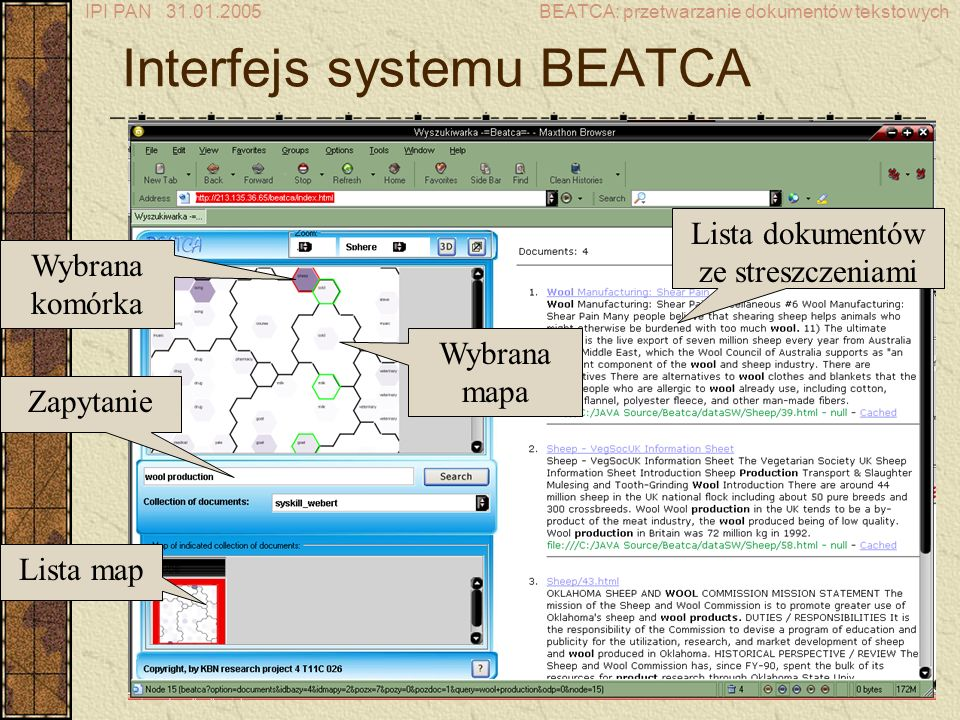 Interfejs systemu BEATCA