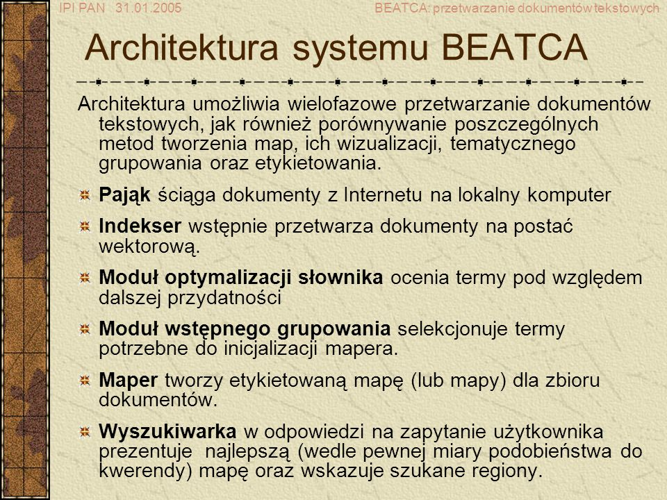 Architektura systemu BEATCA