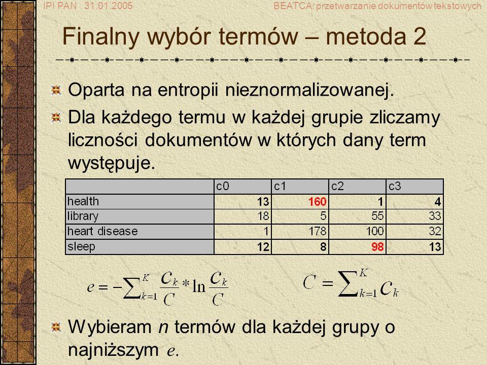 Finalny wybór termów – metoda 2