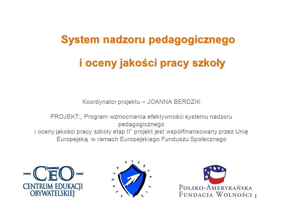 System nadzoru pedagogicznego i oceny jakości pracy szkoły