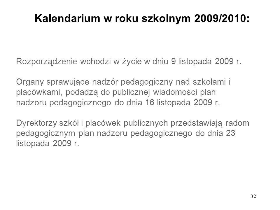 Kalendarium w roku szkolnym 2009/2010: