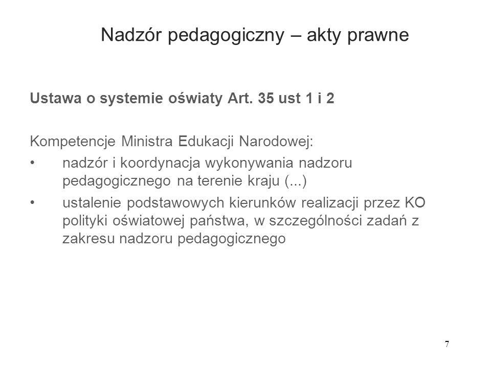Nadzór pedagogiczny – akty prawne