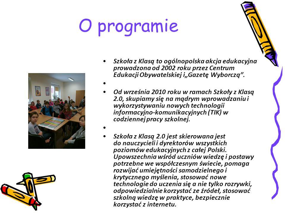 """O programie Szkoła z Klasą to ogólnopolska akcja edukacyjna prowadzona od 2002 roku przez Centrum Edukacji Obywatelskiej i""""Gazetę Wyborczą ."""