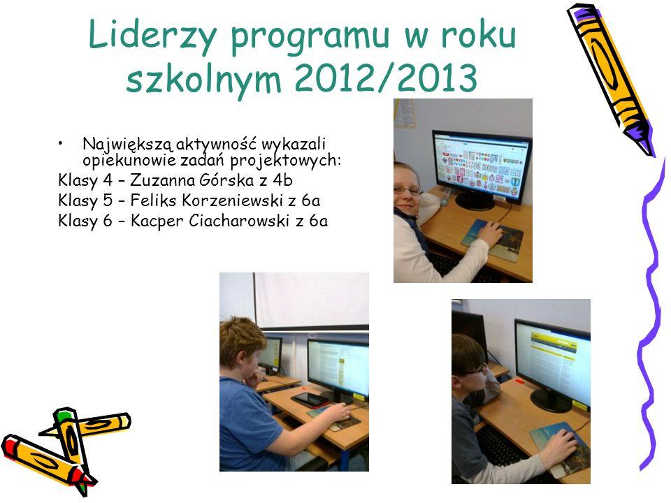 Liderzy programu w roku szkolnym 2012/2013