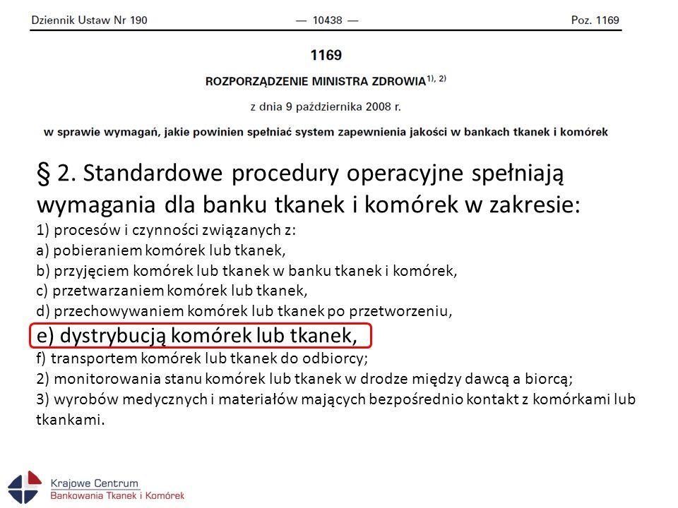 § 2. Standardowe procedury operacyjne spełniają wymagania dla banku tkanek i komórek w zakresie:
