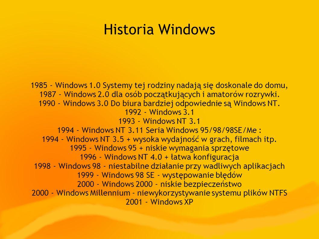 Historia Windows 1985 - Windows 1.0 Systemy tej rodziny nadają się doskonale do domu,